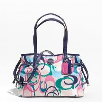Coach Signature Stripe Ikat Print Small Carry All Bag F24447 (SV/Multicolor)