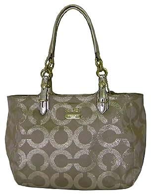 coach signature op e w metallic lurex gallery book bag tote khaki gold handbags