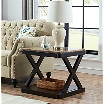 O&K Furniture Modern Square Faux Marble Top Side End Table with Storage Shelf for Bedroom and Living Room, Brown