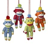 Sock Monkey Ornaments - Set of 4
