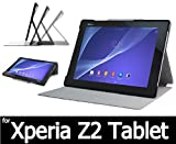 Xperia Z2 tablet (au SOT21 ) (docomo SO-05F ) 用 レザーケース & 液晶保護フィルム(光沢タイプ)つき  オートスリープ機能 (自動ON/OFF)(Z2 tab, BK)
