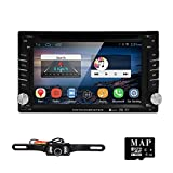 """HIZPO 6.2"""" Android 4.4.4 Universal In Dash Double 2Din Radio Car DVD Player HD Touch Screen Stereo GPS Navigation AM FM RDS SD/USB/Bluetooth/Wifi/1080P + USA Map Card+Backup Camera"""