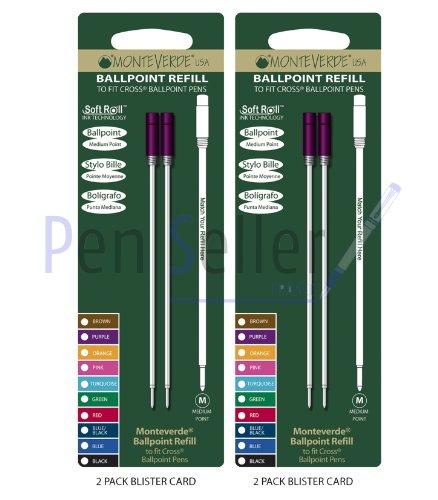 Monteverde: 4 Recharges Bille Soft Roll Violet Compatible Cross, Pointe: M, Livrées en Blister (2 Blisters de 2 Recharges Chacun).