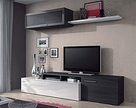 Conjunto Salón TV Nexus Blanco Brillo Gris Ceniza - LuxoMobel