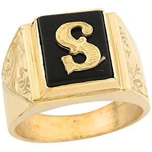 B Letter In Gold Ring 14ct Real Gold 12x10mm