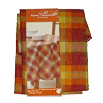 Red Plaid Fabric Tablecloth Autumn Orange Spice Table Cloth 70 Round