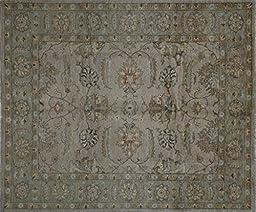 8\'x10\' Hand Knotted Oushak Style Veg Dyed Beige Chobi Peshawar Wool Rug H9988