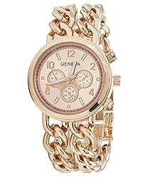 Geneva Platinum Big Size Double Chain Bracelet Analog Rose Gold Dial Womens Watch - GP-225