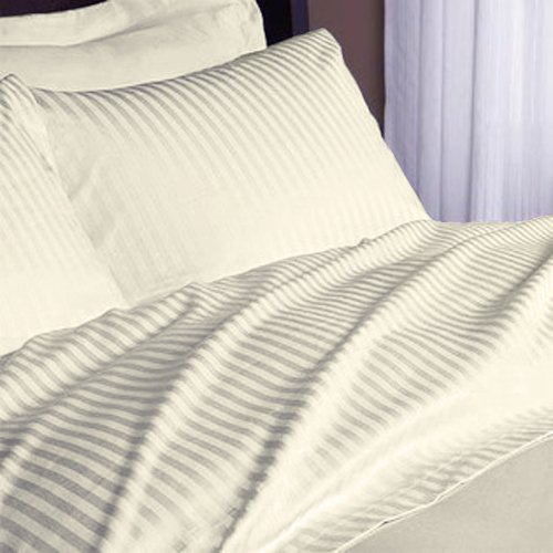 Ivory Stripe Egyptian Cotton 300Tc Anjali Linen Cal-King 72X84 Inch Size Bed Sheet Set 4Pcs Pocket Depth 25 Inch Drop