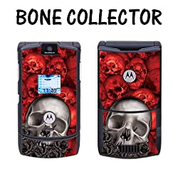 New Motorola Razr V3 Designer Skin Removable Vinyl - Bone Collector Red