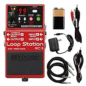 boss rc 3 rc3 loop station guitar effects pedal with power supply cables and. Black Bedroom Furniture Sets. Home Design Ideas