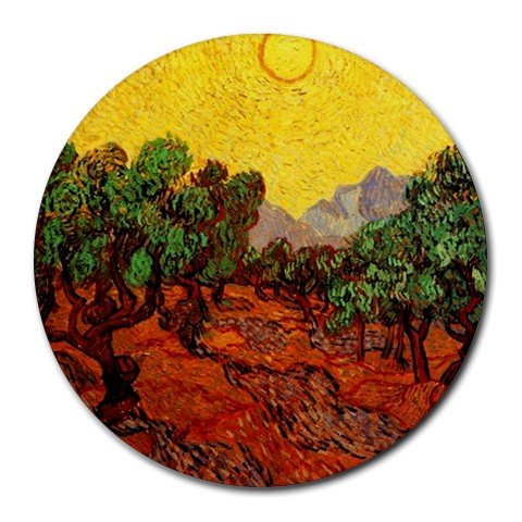 Olive Trees with Yellow Sky and Sun By Vincent Van Gogh Round Mouse Pad