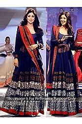 Designer Phthalo blue SILK & NET Bollywood Replica Dress.