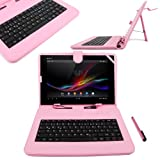 DURAGADGET Pink Stand Case With Micro USB German Keyboard Compatible With Archos 97 Titanium HD, Archos Arnova 10c G3 10G3 10.1 inch (1GHz processor ), Archos Arnova 101 G4 Tablet (ARM Cortex A9 1.5GHz, Wi-Fi, Android 4.1), Arnova 10b G3 & 10c G3 Tablet-