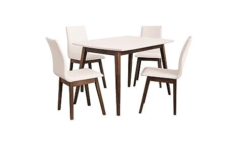 Esstisch mit 4 stuhlen: 130x80 oder 160x90 weiß und mittel nuss, aufgeklappten Tischplatte Esszimmertisch Tischgruppe Essgruppe - RUGIA (160x90)