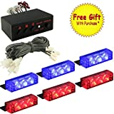 DIYAH 18 LED High Intensity LED Law Enforcement Emergency Hazard Warning Strobe Lights For Interior Dash Windshield With Suction Cups (Red and Blue)