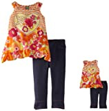 Dollie & Me Girls 2-6X Asymmetric Top And Jegging Set With Doll Outfit