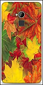 Snoogg Beautiful Autumn Maple Leaves Background Designer Protective Back Case Cover For HTC One-Max