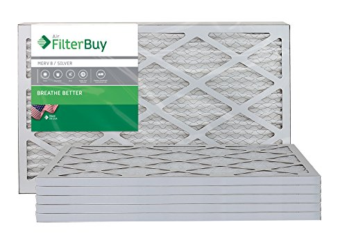 AFB Silver MERV 8 16x25x1 Pleated AC Furnace Air Filter. Pack of 6 Filters. 100% produced in the USA.