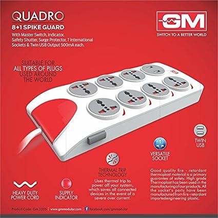 GM-Quadro-8-Strip-Spike-Surge-Protector-(2.5-Mtr)