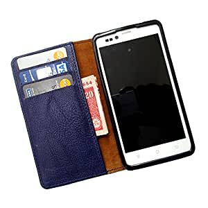 i-KitPit PU Leather Wallet Flip Case For Sony Xperia ZR (NAVY BLUE)