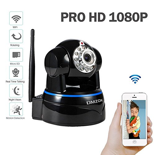 DMZOK ProHD 1080P Wireless Security Network Camera Pan Tilt Zoom Two-Way Audio, SD Card Record, Motion Detection, Remote Mobile View, Baby Pet Camera, WiFi Security Camera(1080P, Black- Night Vision) (Pan Tilt Wireless Camera compare prices)