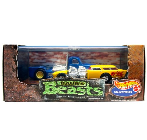 GO-MAD (Chevy Nomad) & TORQUED OFF (Custom Semi-Truck) * Limited Edition * Hot Wheels 1999 Baur's Beasts 1:64 Scale 2-Car Custom Vehicle Box Set