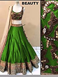 Bhavya Enterprise Green Benglori Silk Lehenga