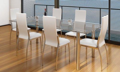 Sedie moderne cucina e pranzo, 6, ecopelle e metallo,bianche « My Annunci Prezzi Economici
