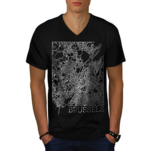 belgium-brussels-map-big-town-men-new-black-m-v-neck-t-shirt-wellcoda