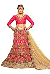 Silvermoon women's Net Embroidered heavy lehenga choli-sm_NMMJA7006A_Royal red_free size