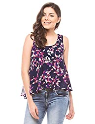 Shuffle Women's Printed Swing Top (1021502101_Navy Mix_Medium)
