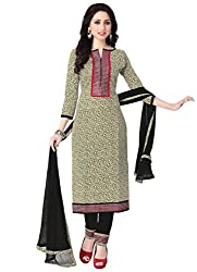 Justkartit Women's Beige & Black Colour Unstitched Office Wear Salwar Kameez / Smart Work Wear Salwar Kameez / Exclusive Office Wear Dress Materials (Office Wear Collection For Indian Women - 2016)
