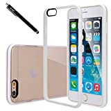 iPhone 6s Plus / iPhone 6 Plus Case, E LV iPhone 6s Plus / iPhone 6 Plus Case Cover - Clear Soft Rubber Hybrid Protective Case Cover for iPhone 6s Plus / iPhone 6 Plus with 1 Stylus, 1 Screen Protector and 1 Microfiber Cleaning Cloth - WHITE