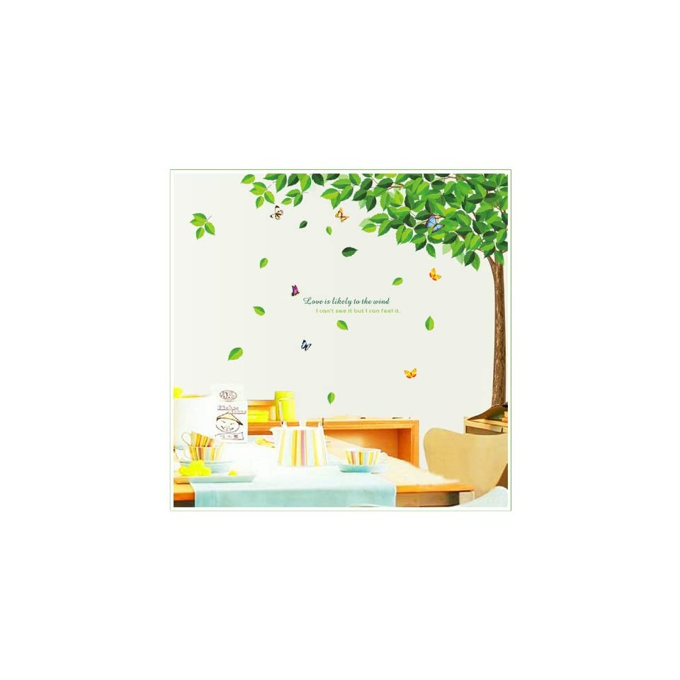 Love Is Likely to the Wind I Can not See but I Can Feel It Green Tree Wall Stickers Home Decal Decor for Kids Nurseery Room