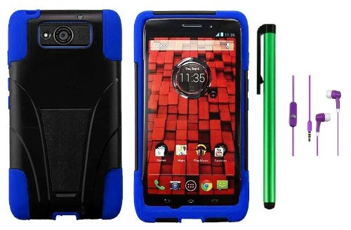 =>  Motorola DROID ULTRA MAXX XT1080M / Motorola Obake (Verizon) Accessory - Premium Stand Protector Hard Cover Case + 3.5MM Stereo Earphones + 1 of New Metal Stylus Touch Screen Pen (Blue / Black)