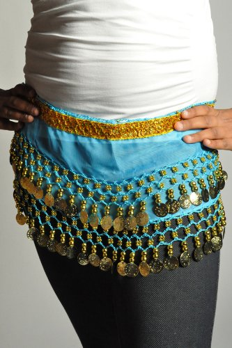Kids Belly Dance Zumba Hip Scarf with Coins & Beads - Turquoise