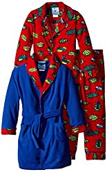 Bunz Kids Little Boys' 3 Piece Boys Pow Robe and Pajamas Sets, Red, 7