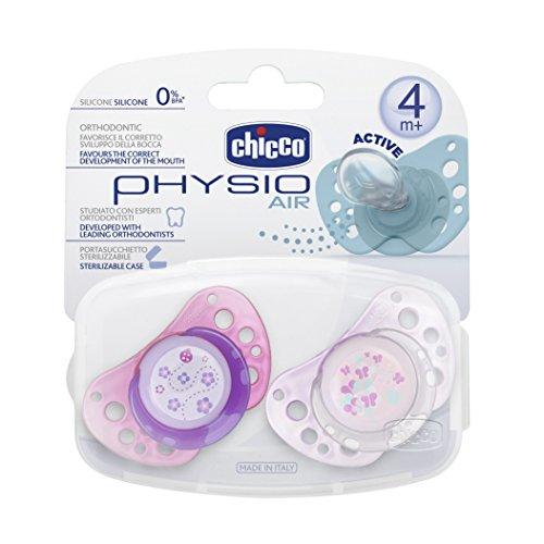 Chicco 72733110000 Physio Air Succhietto Silicone 4m+, 2 pezzi, Multicolore/Rosa