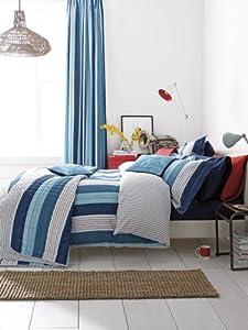 """V & A """"Thames"""" Denim Blue, Red & White Stripe Single Duvet Cover Set"""