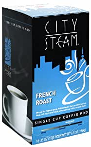 City Steam 17530 French Roast Single Cup Coffee Pods, 18-count