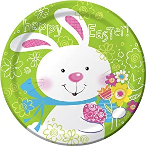 Creative Converting Easter Round Dinner Plates Hoppy Bunny Design, 8 Per Package