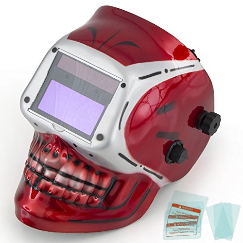 ARKSEN-Auto-Darkening-3D-Red-Skull-Welding-Helmet-Adjustable-ANSI-CE-Certified-Red