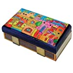 Hand Painted Wooden Match Box Holder / Tower of David Design