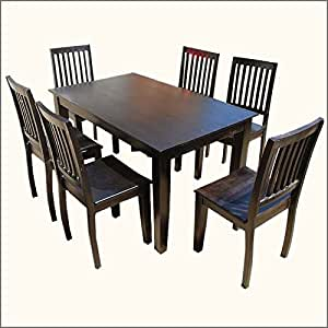 Solid Wood Lincoln 7PC Dining Room Table Chair Set Table