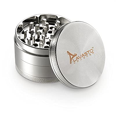 Herb Grinder with Pollen Catcher 4 piece Spice Tobacco Crusher from Lavasto 2.5 inch Chromium by Lavasto