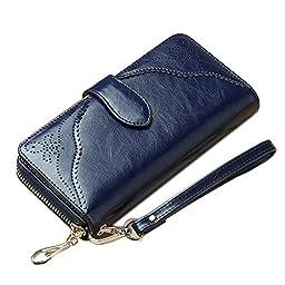BesToo Women\'s Genuine Leather Clutch Wallet Zippered Fashion Cutout Flower Handbag Large Wrist Strap Purse Money Clips (Navy Blue)