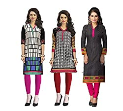 Vaamsi Women's PolyCotton Unstitched 3 Kurti Fabric(CKF1018_Multi-Coloured_Free Size)
