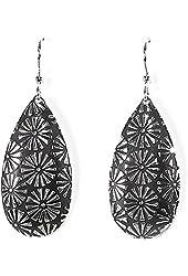 Jody Coyote Earrings QD025 Litho Collection silver black dangle