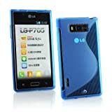 Kit Me Out UK TPU Gel Case + Screen Protector with MicroFibre Cleaning Cloth for LG Optimus L7 P700 - Blue S Line Wave Pattern